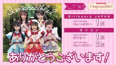 Luce Twinkle Wink☆Newシングル『I'mpossible?』ビルボード週間1位、オリコンデイリー1位・ウィークリー2位獲得!ツアー開催も決定!!