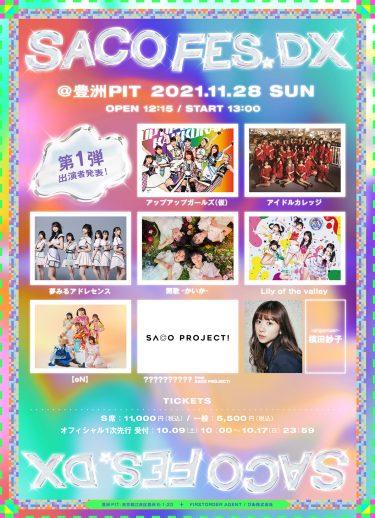 槙田紗子プロデュースの音楽フェス「SACO FES DX(サコフェスデラックス)」11月28日(日)豊洲PITにて開催決定!&  第1弾出演アーティスト発表!!